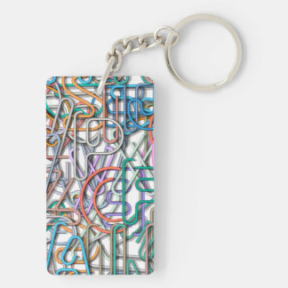 Colorful Line Art Letters Double-Sided Rectangular Acrylic Key Ring