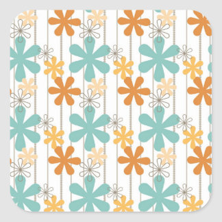 Colorful Line Paper Flower Patterns Square Stickers