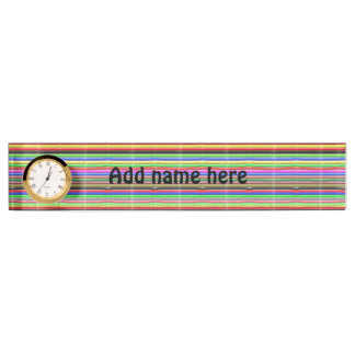 colorful line pattern name plate