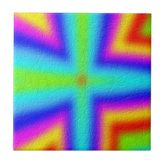 Colorful Line Pattern Small Square Tile