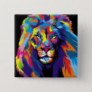 Colorful lion 15 cm square badge