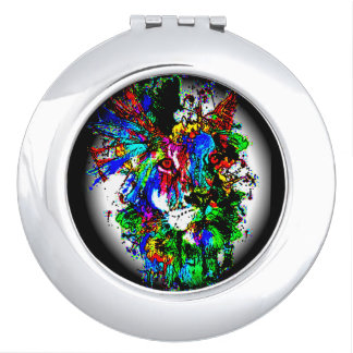 colorful lion art print compact mirror