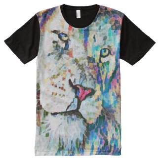 Colorful Lion Face Fantasy Paint All-Over Print T-Shirt