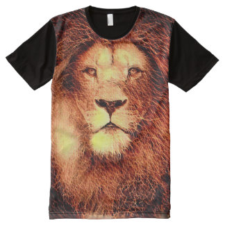 Colorful Lion Fractal Paint All-Over Print T-Shirt
