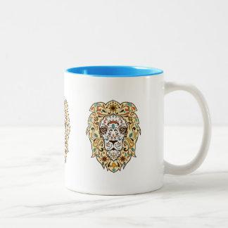 Colorful Lion Head Illustration Two-Tone Mug