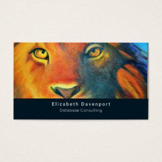 Colorful Lion Head Portrait Oil Painting Business Card