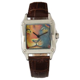 Colorful Lion Head Portrait Oil Painting Watch