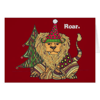Colorful Lion Holiday Card