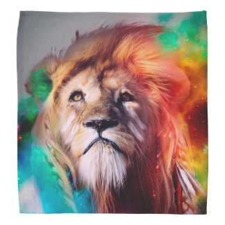 Colorful lion looking up Feathers Space Universe Bandana
