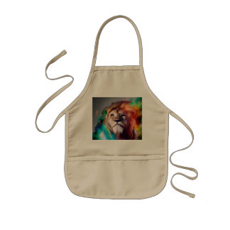Colorful lion looking up Feathers Space Universe Kids Apron