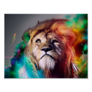 Colorful lion looking up Feathers Space Universe Poster