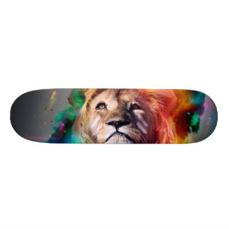 Colorful lion looking up Feathers Space Universe Skate Board Deck