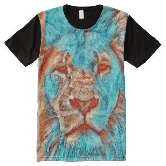 Colorful Lion Nature Portrait Paint All-Over Print T-Shirt