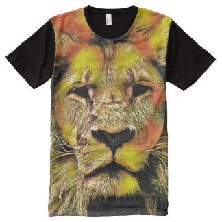 Colorful Lion Portrait Acrylic Paint All-Over Print T-Shirt