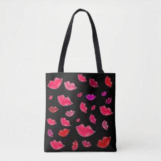 Colorful lips tote bag