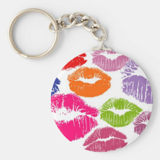 Colorful Lipstick Kisses Lip Color Basic Round Button Key Ring