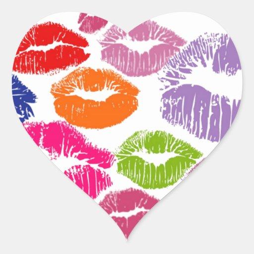 Colorful Lipstick Kisses Lip Color Sticker