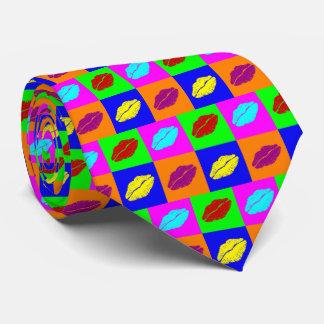 Colorful lipstick kisses tie