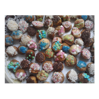colorful little birthday cakes, food, party cake postcard