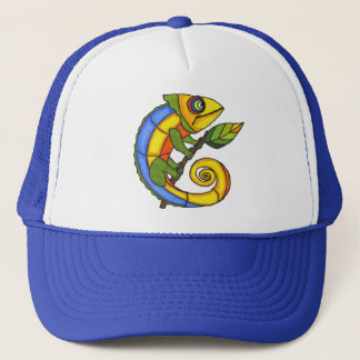 Colorful Lizard on a Branch Trucker Hat
