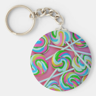 Colorful lollipops pattern basic round button key ring