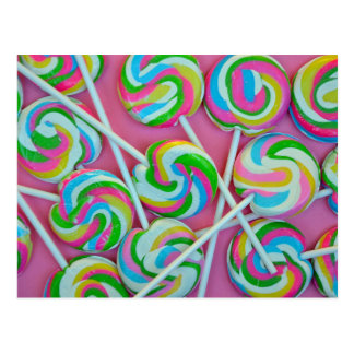 Colorful lollipops pattern postcard