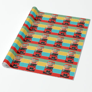Colorful London Bus Wrapping Paper