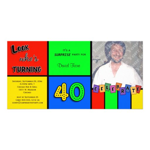 Colorful Look Whos Turning 40 Birthday Invite Photo Card