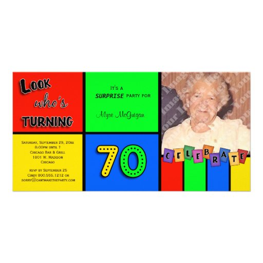 Colorful Look Whos Turning 70 Birthday Invite Customized Photo Card