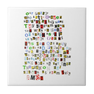 Colorful Lord's Prayer Small Square Tile
