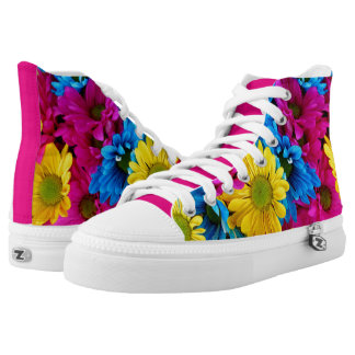 Colorful Loud Design With Big Daisy Flowers High Tops