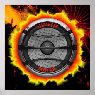 Colorful Loud Music Speaker Dancing Party Poster
