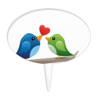 Colorful love birds cake topper