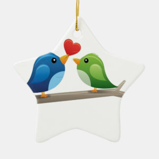 Colorful love birds christmas ornament