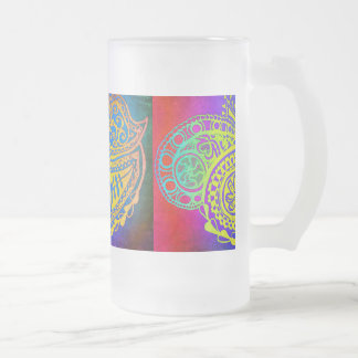 Colorful Love Design Frosted Glass Mug