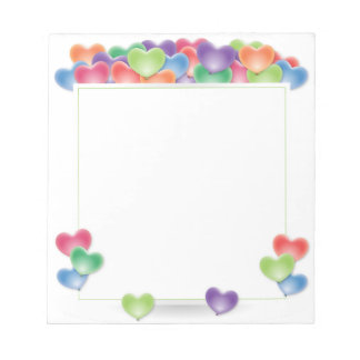 Colorful Love Heart Balloons Frame Notepad