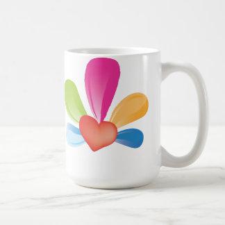 colorful love heart basic white mug
