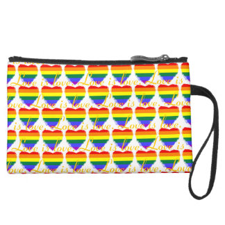 Colorful love is love rainbow hearts pattern wristlet purses