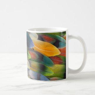Colorful Lovebird Feather Design Coffee Mug