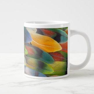 Colorful Lovebird Feather Design Large Coffee Mug