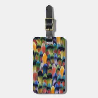 Colorful lovebird parrot feathers luggage tag