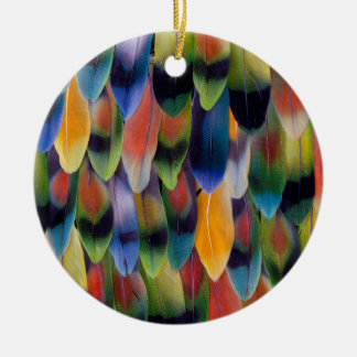 Colorful lovebird parrot feathers round ceramic decoration