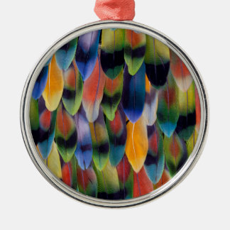 Colorful lovebird parrot feathers Silver-Colored round decoration