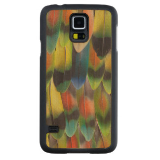 Colorful Lovebird Tail Feathers Carved Maple Galaxy S5 Case