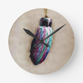Colorful Lucky Rabbit's Foot Round Wallclocks