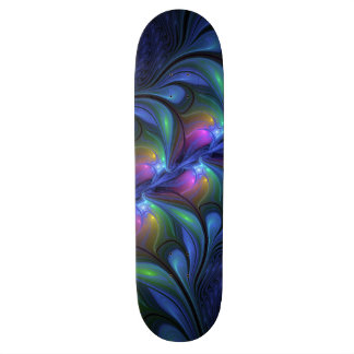 Colorful Luminous Abstract Blue Pink Green Fractal 19.7 Cm Skateboard Deck