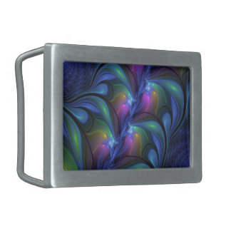 Colorful Luminous Abstract Blue Pink Green Fractal Belt Buckle
