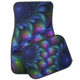 Colorful Luminous Abstract Blue Pink Green Fractal Car Mat