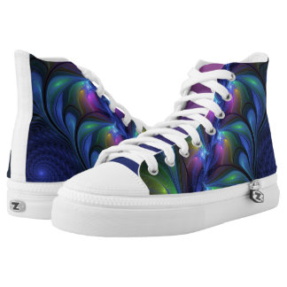Colorful Luminous Abstract Blue Pink Green Fractal High Tops