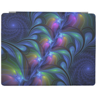 Colorful Luminous Abstract Blue Pink Green Fractal iPad Cover